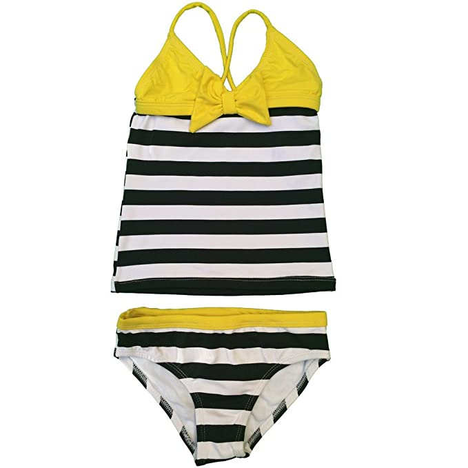 092f573f37adf Little Girls Black White Striped Yellow Bow Accent Tankini 2 Pc Swimsuit 4