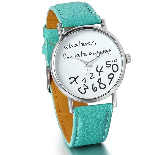 "JewelryWe Reloj de Cuero Verde para Mujer ""Whatever I m Late"" Reloj"