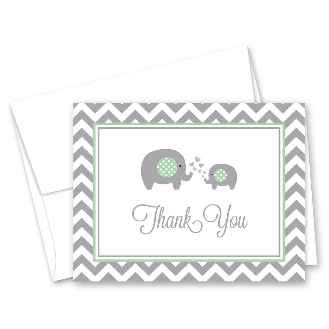 50 Cnt Chevron Mint Elephant Baby Shower Thank You Cards by MyExpression.com (Image #1)