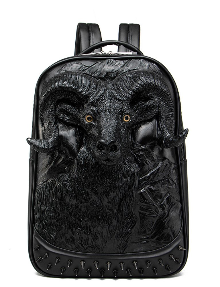 Aibag 3D Bull Backpack School Laptop Bag with Chain Nose Ring Wildebeest Black