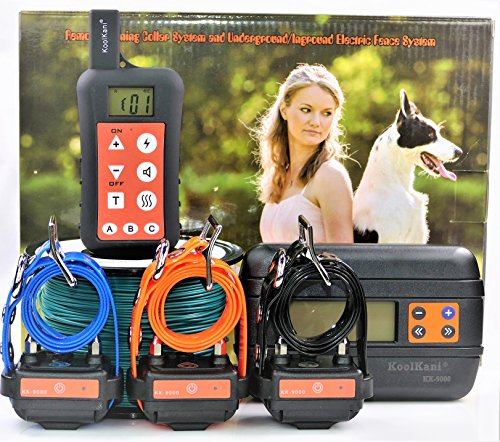 KoolKani Remote Dog Training Shock Collar & Underground/In-ground Electronic Dog Containment Fence System Combo (Three Dog System) Fence Training
