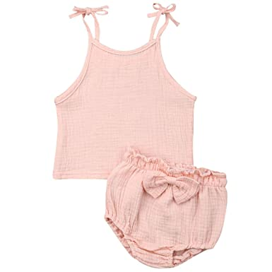2dbeddc4f24e9 Amazon.com: Toddler Baby Girls Cotton Strappy Tank Tops and Shorts ...