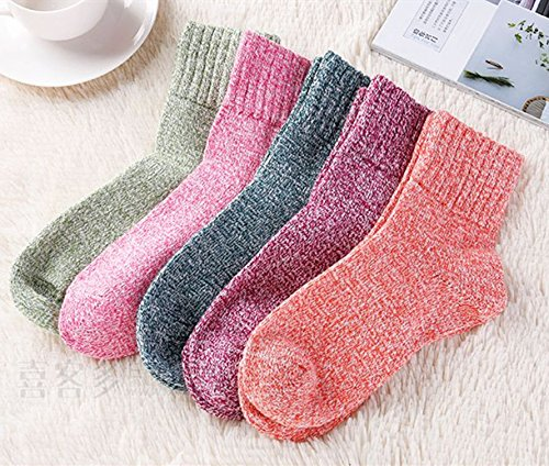 Loritta 5 Pairs Womens Vintage Style Winter Warm Thick Knit Wool Cozy Crew Socks,Free size,Multicolor