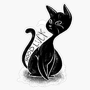 Leyland Designs Good Luck Bad Omens Black Cat Sticker Outdoor Rated Vinyl Sticker Decal for Windows, Bumpers, Laptops or Crafts 5""
