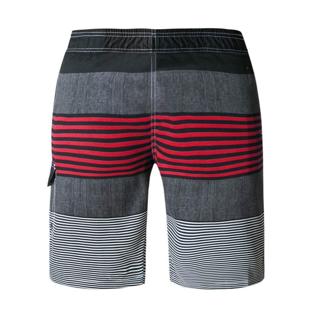 Kailemei Men Spring PantSummer Print Trunks Beach Surfing Running Short Quick Dry