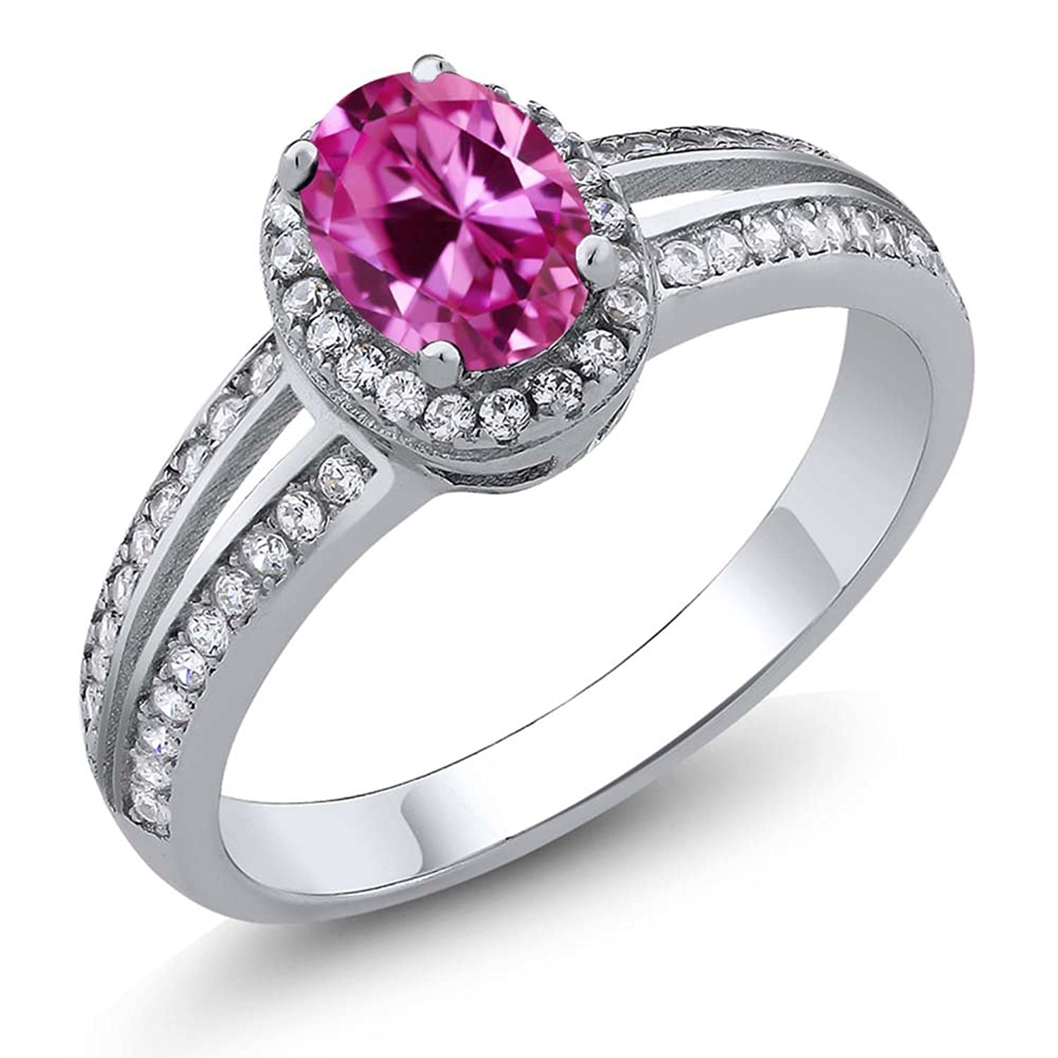 1.10 Ct Oval Pink Created Sapphire 925 Sterling Silver Ring