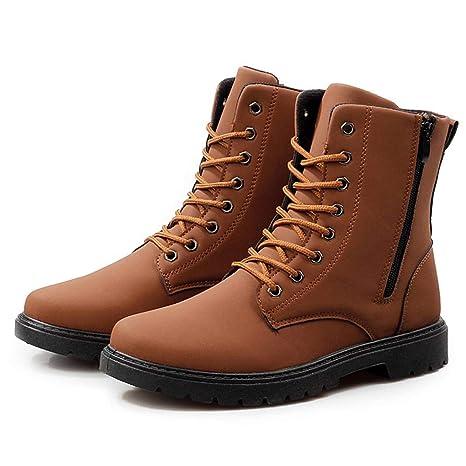 Botas de Cuero para Hombre,ZARLLE Moda Invierno Botas de Nieve Botas para Hombre Militares Botas de Combate ultraligeras y Transpirables Zapatos al Aire ...