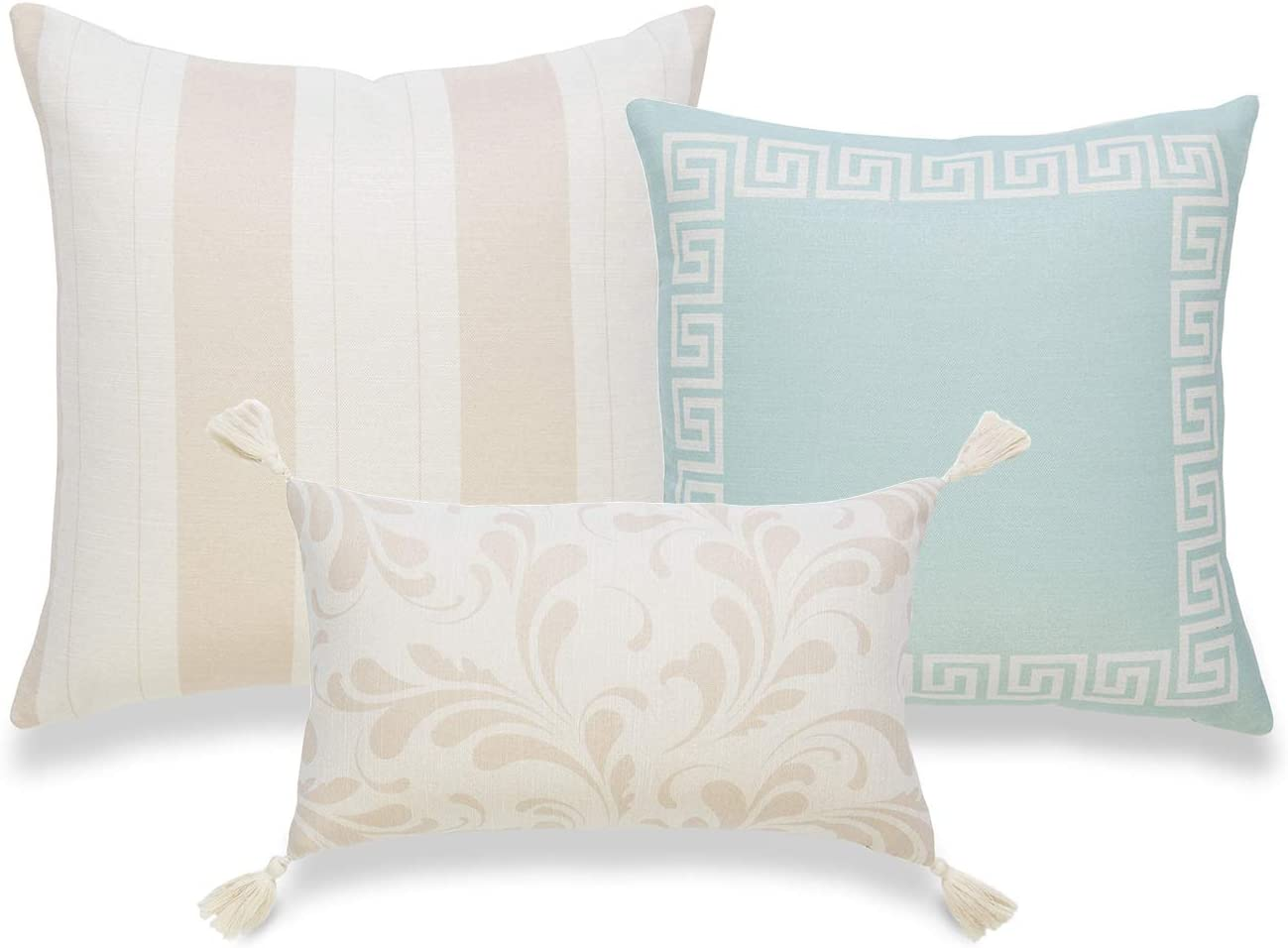 Hofdeco Coastal Decorative Lumbar Throw Pillow Cover ONLY for Couch, Sofa, or Bed, Taupe Light Aqua Greek Key Floral Striped Tassel, 18