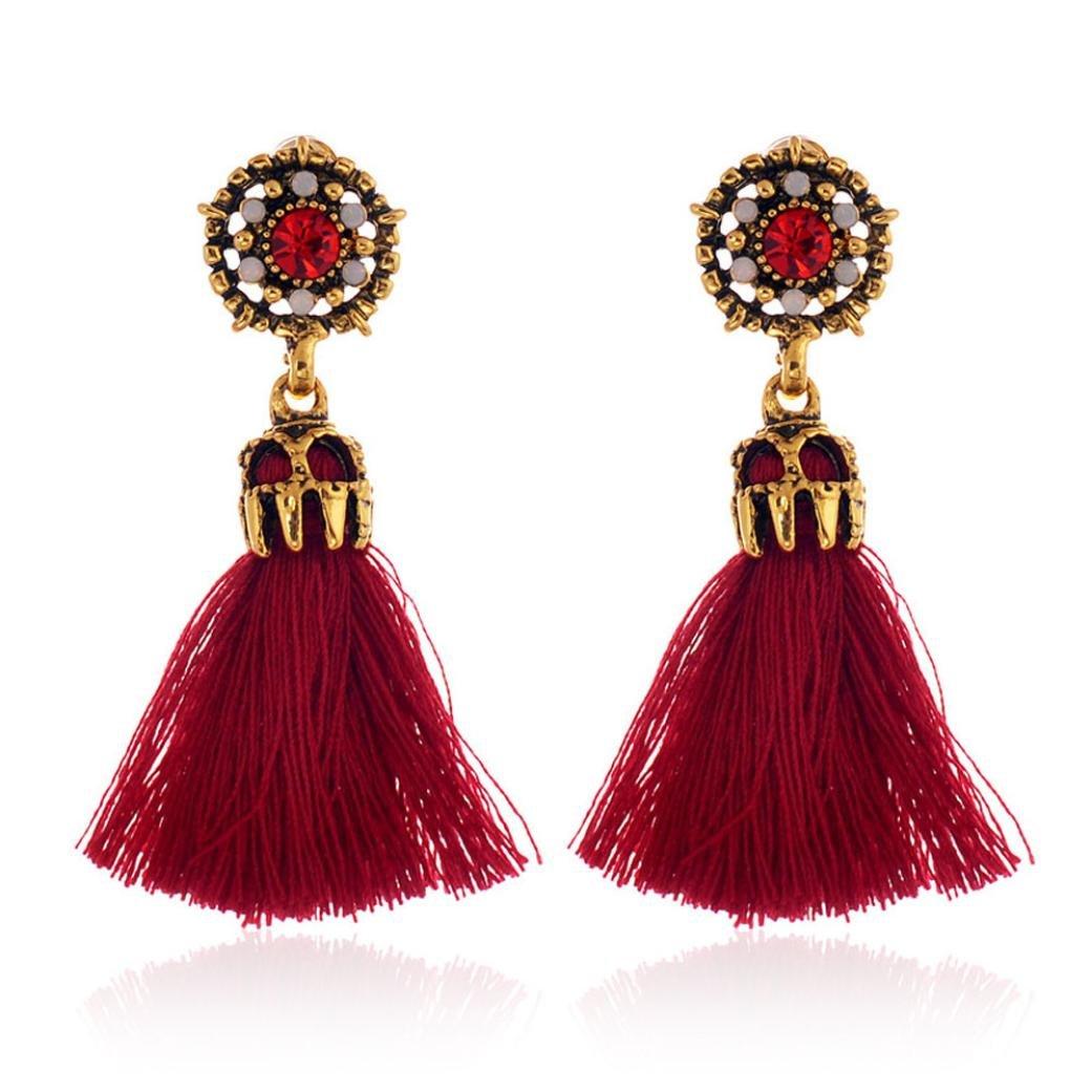 Mr.Macy Earrings For Women,Rhinestones Crystal Tassel Dangle Stud Dangle Stud Earrings Gold Hooppearl Earrings Pearl Tassel Earrings Beach Ear Rings (RD)