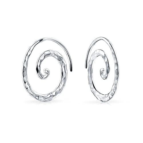 f68461ac1fb03 Boho Geometric Tribal Swirl Hammered Wire Spiral Hoop Threader Earrings For  Women For Teen 925 Sterling Silver