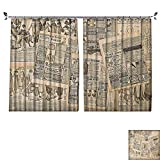 PRUNUS Blackout Window Curtain with hookNewspaper Pages with Advertising and Fashion Magazine for Woman Edwardian Publicity Image Balance Indoor Temperature,W55 xL63