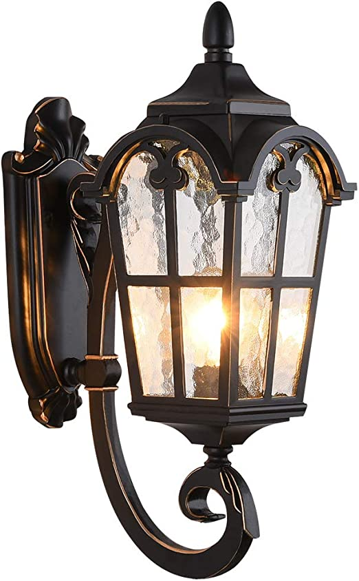 Lonedruid Outdoor Wall Light Fixtures Black Roman 17 71 H Exterior Wall Lantern Waterproof Sconce Porch Lights Wall Mount With Water Glass Shade For