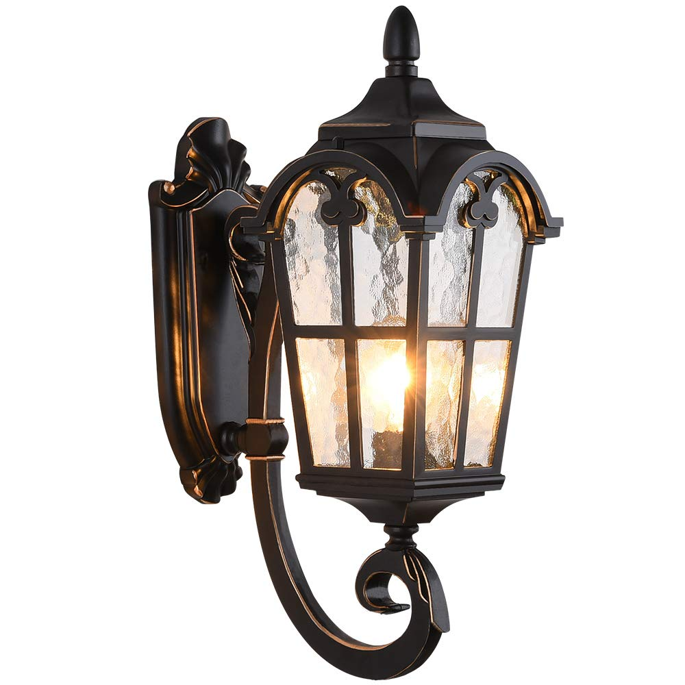 LONEDRUID Led Outdoor Wall Light Fixtures Black Roman Exterior Wall Lantern 17.71''H Waterproof Sconce Porch Lights Wall Mount with Water Glass Shade for House, UL Listed by LONEDRUID