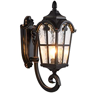 "LONEDRUID Led Outdoor Wall Light Fixtures Black Roman Exterior Wall Lantern 17.71""H Waterproof Sconce Porch Lights Wall Mount with Water Glass Shade for House, UL Listed"