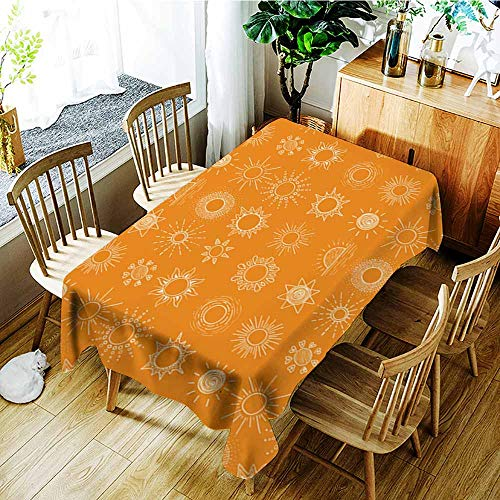 Tablecloth,Seamless background with doodle sun on orange background Can be used for wallpaper pattern fills textile web page background surface textures ,Table Cover for Kitchen Dinning Tabletop - Table Textures Oval