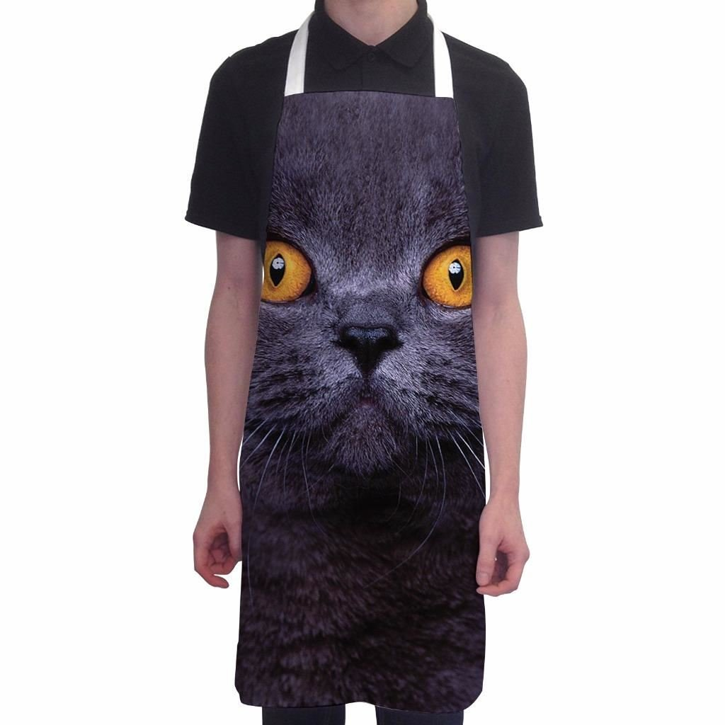 Funny Aprons for Women British Shorthair Cat BBQ Cooking Apron Kitchen Gift
