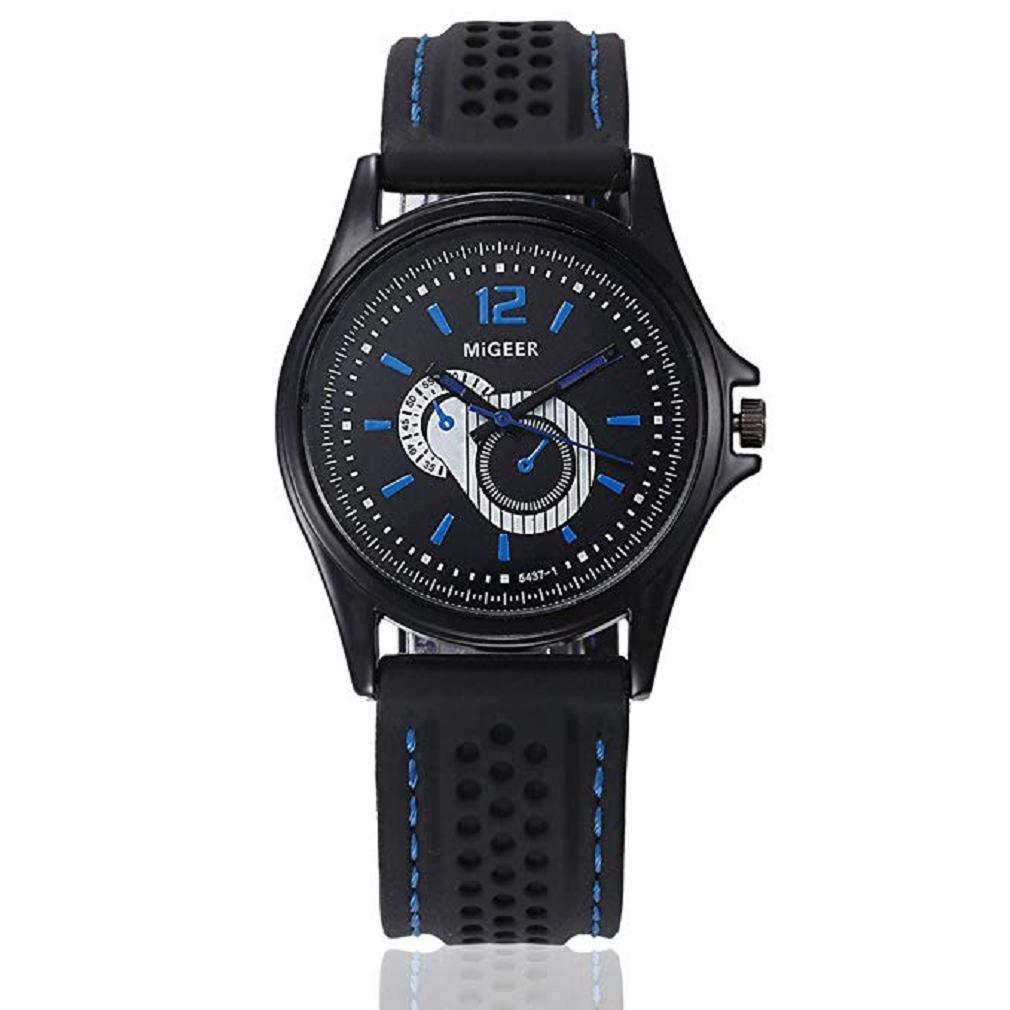 ... Moda Negocios Reloj clásicos Deportivo Reloj Bisel de Acero Inoxidable Wrist Reloj Redondo Dial Digital Reloj Silicona Banda (C): Amazon.es: Relojes