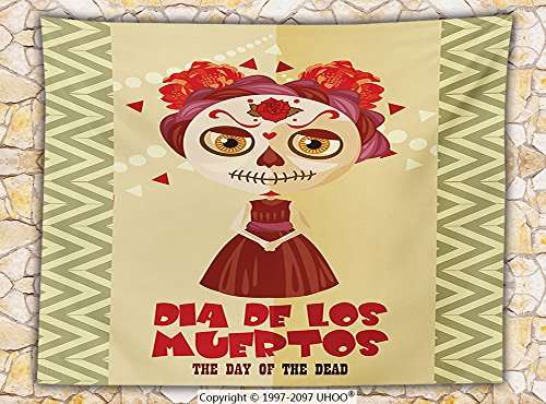 Day Of The Dead Decor Fleece Throw Blanket Spanish Dia de los Muertos Print Girl with Gothic Makeup Throw Cream Burgundy and Red (Monster High Dia De Los Muertos)