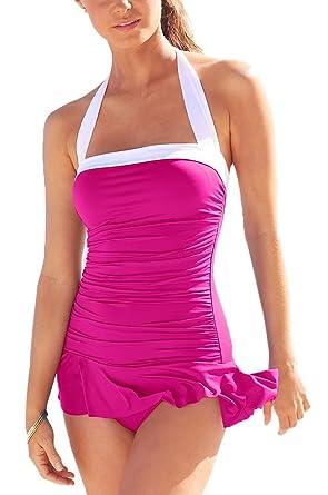 154325beca9 Lauren by Ralph Lauren Women's Bel Aire Solids Shirred Bandeau Skirted Mio  Slimming Fit One-