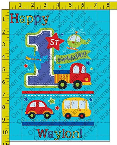 All Aboard Vehicles 1st Birthday Personalized Edible Frosting Image 1/4 sheet Cake Topper