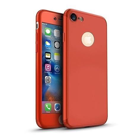 MajoCase Funda iPhone 6 6s Plus 360 Grados Integral Para Ambas Caras + Protector de Pantalla de Vidrio Templado,[ 360 ° ] [ Rojo ] Case/Cover/Carcasa ...