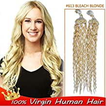 Remeehi New Arrival 15-32 Inch High Quality Brazilian Human Hair Curly Micro Ring Loop Hair Extensions 100S 100G 1g/Strand Easy Use Easy Care Remy Hair (18 inch 10#)