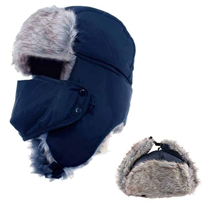 Amazon Winter Trapper Hat With Ear Flap and Chin Strap and Faux Fur, AYAMAYA Ushanka Russian Style Windproof Mask Trooper Hat for Boys $14