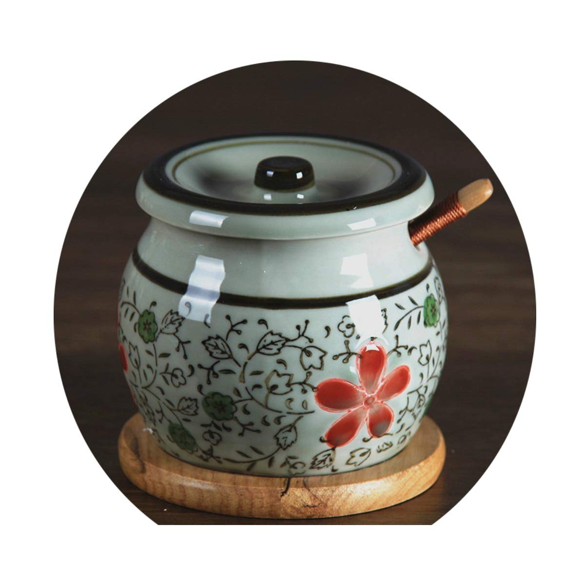 MINGRUIGONGMAO Condiment Box, Underglaze Color Salt Can, Oil Tank, Kitchen Seasoning Jar, Seasoning Jar, Ceramic Chili Jar, Small, Large Plush toys (Color : D, Size : Small) by MINGRUIGONGMAO