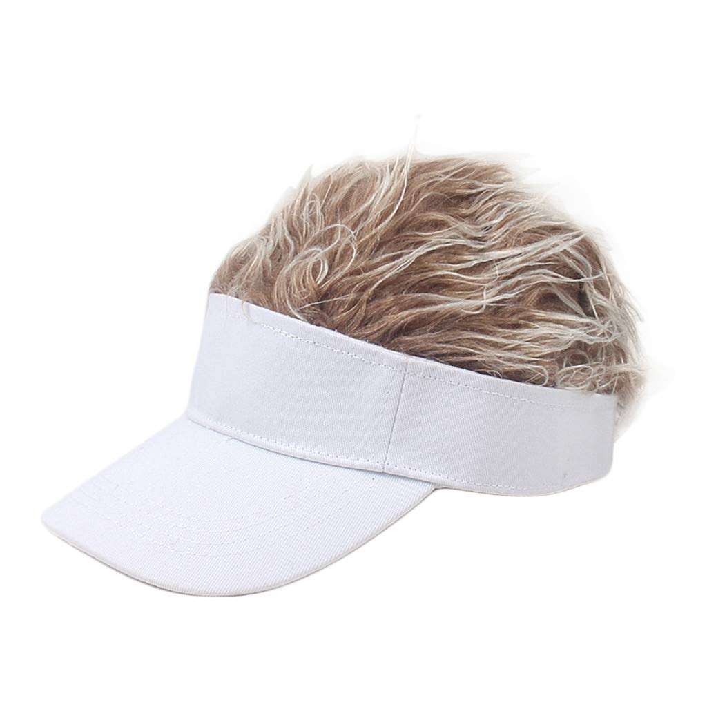 Wig Baseball Cap Sun Visor Cap Parent-Child Hat Peaked Adjustable Baseball Hat Spiked Hair Gag Visor Hat Cap (D)