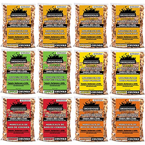 (Smokehouse Products All Natural Flavored Wood Smoking Chunks, 12 Pack Assorted Flavors)