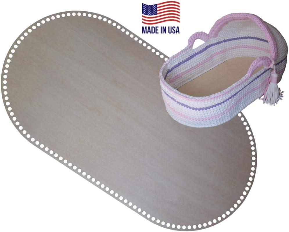 Fondo de madera para cuna ovalado de ganchillo con base de madera para cestas y regalos recién nacidos, perfecto para hacer ganchillo con hilo de camiseta: Amazon.es: Hogar