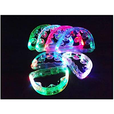 "Unbranded 12 Flashing Tambourines Light Up Round Jingles LED Church Autism Sensory Toy Size: 6"" Length x 4"" Height: Toys & Games"