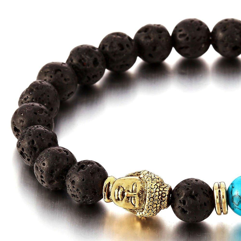 COOLSTEELANDBEYOND Homme Femme Bracelet de Perles AVCE Couleur dor Bouddha Pierre Volcanique Volcan Tibetan Beads Buddhist Prayer Mala