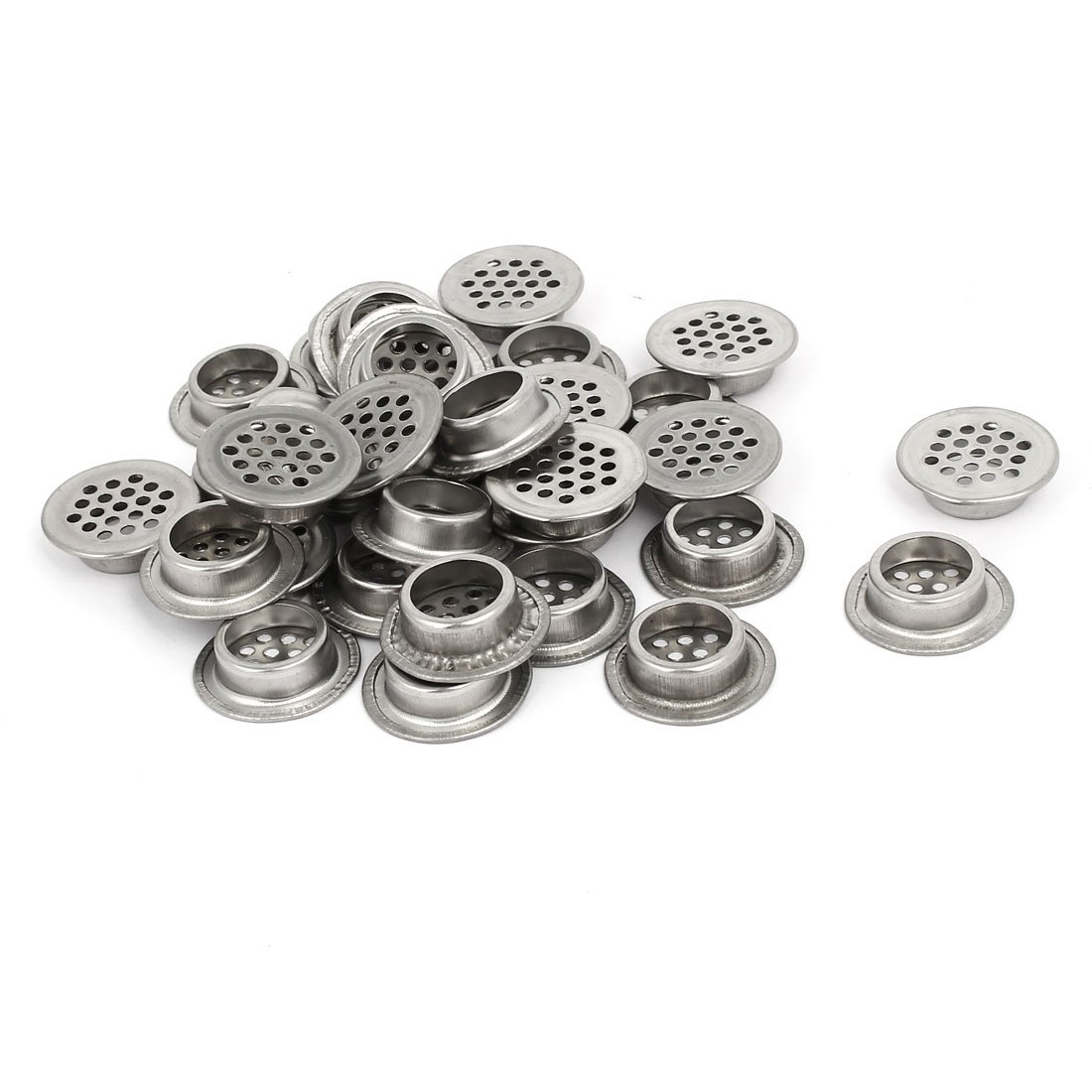 uxcell 19mm Bottom Dia Stainless Steel Round Shaped Mesh Hole Air Vent Louver 30pcs