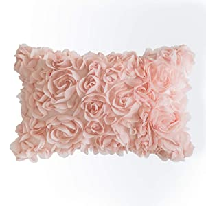 MIULEE 3D Decorative Romantic Stereo Chiffon Rose Flower Pillow Cover Solid Square Pillowcase for Sofa Bedroom Car 12x20 Inch 30x50cm Peach Pink