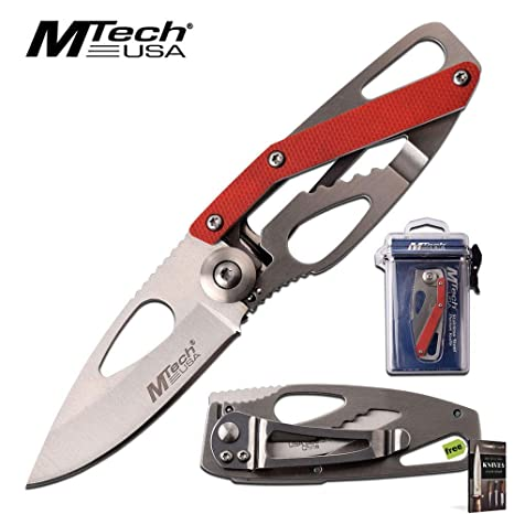 Amazon.com: Cuchillo plegable minimalista Mtech rojo ultra ...
