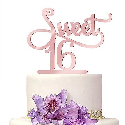 Happy Birthday Cake Toppers Elegant Rose Gold Calligraphy Decoration UK Acrylic