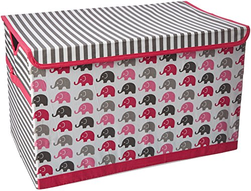 Bacati Elephants Storage Toy Chest, Pink/Grey 10 Liter Small Animal Bedding