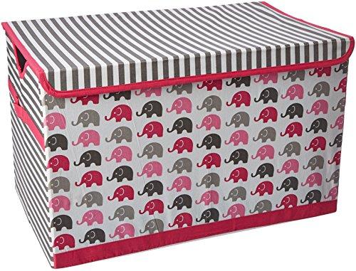 Bacati Elephants Storage Toy Chest, Pink/Grey