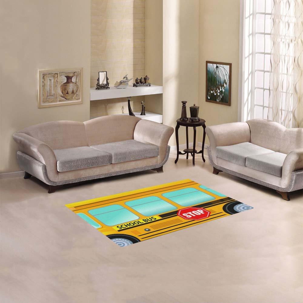 AnnHomeArt School Bus Area Rug Modern Carpet 2'7''x 1'8''