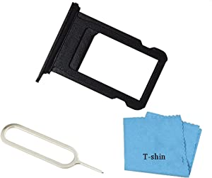 SIM Card Tray Cover Card Slots Holder Replacement Part for iPhone 7 Plus (5.5Inch) with Sim Card Remover Eject Pin Key Tool and Cloth (Black)