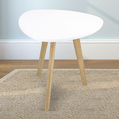 Magshion Modern Modern White Triangle Top Nesting Tables Living Room Side End Tables (White) by Magshion
