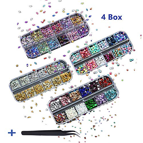 Kalolary Nail Art Rhinestones Set(4 Boxes), Nail Studs Fake Nail Pearls Nail Sequins, Multi-size Gems Metal Nail Rivets Studs Diamond Horse Eye Rhinestone Nail Art Decoration with Tweezers