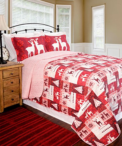 Pegasus Home Fashions Home ID Collection Christmas Lodge Quilt Plus Sham Set, Full/Queen