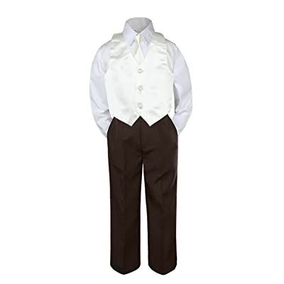 Leadertux 4pc Formal Baby Toddler Boys Ivory Vest Necktie Brown Pants Outfit S-7 (XL:(18-24 months))