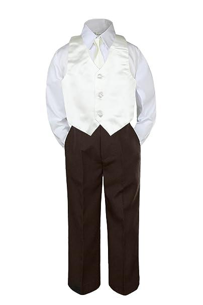 Amazon.com: 4pc Baby bebé Kid Boy Formal Traje café ...