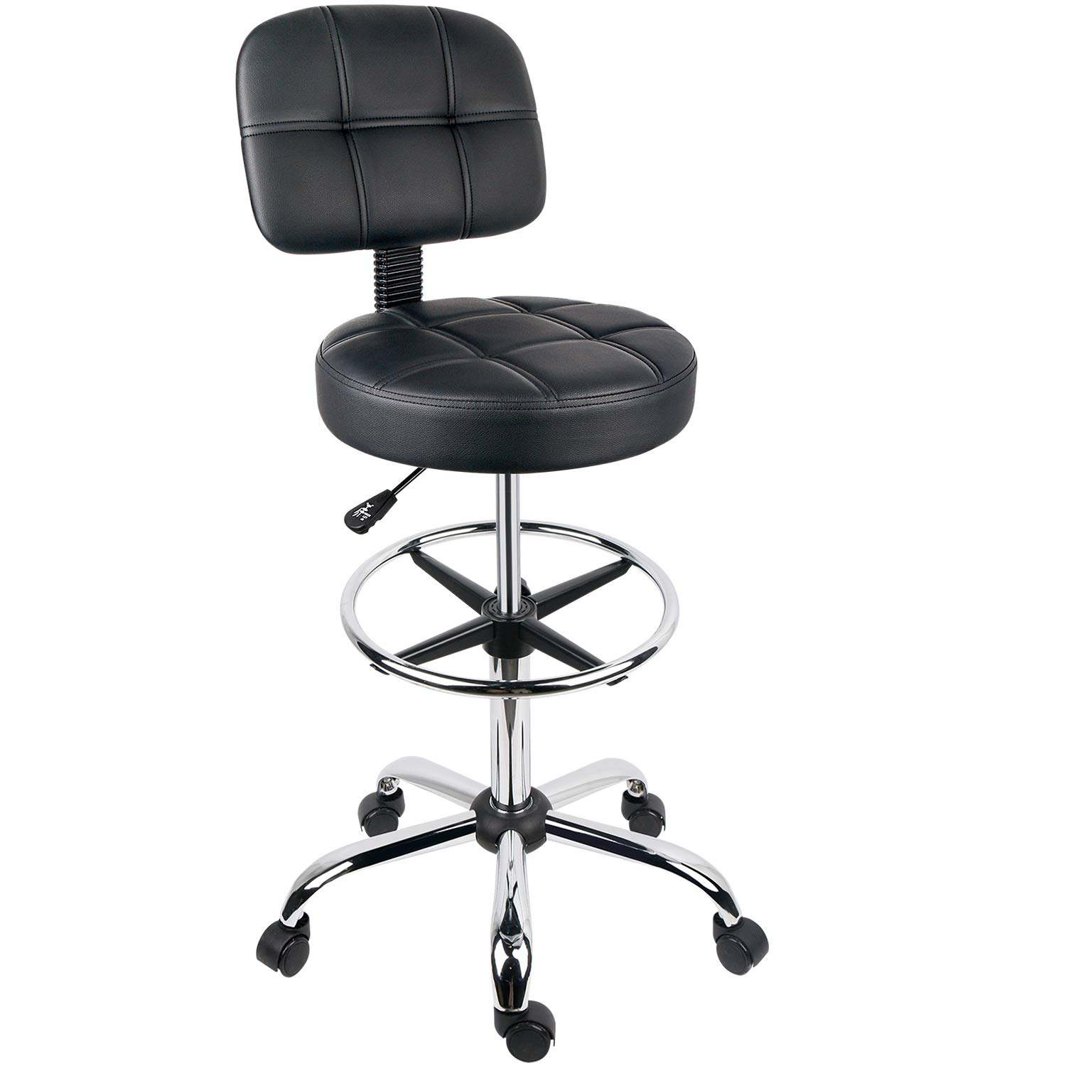 Leopard Round Drafting Chair, Adjustable Swivel Tall Drafting Stool Office Chair for Standing Desk, with Back and Footring - Black by Leopard Outdoor Products