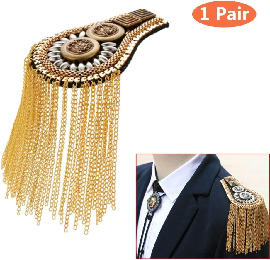 Tassel Chain Epaulet Shoulder Boards Badge Blazer Shoulder Epaulets Metal Beads Punk Fringe (Gold)