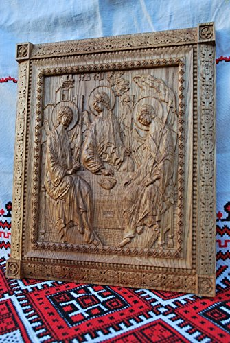 Holy Trinity Icon personalized religious gift Wood Carved religious wall plaque FREE ENGRAVING FREE SHIPPING by Woodenicons Artworkshop ''Tree of life'' (Image #5)