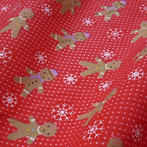 Red Polka Dot Polycotton Fabric with Gingerbread Snowflake Print (Per Metre) by Nortex Mill